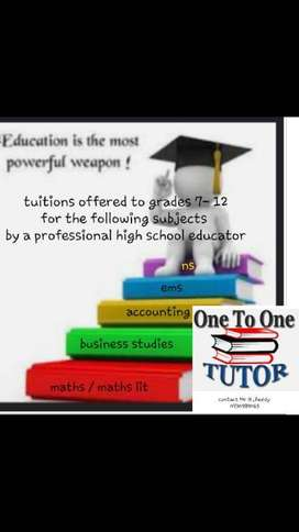 TUITIONS OFFERED FOR ALL SUBJECTS