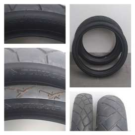 Pair of Dunlop Trailmax D610 & D610F motorcycle tires.