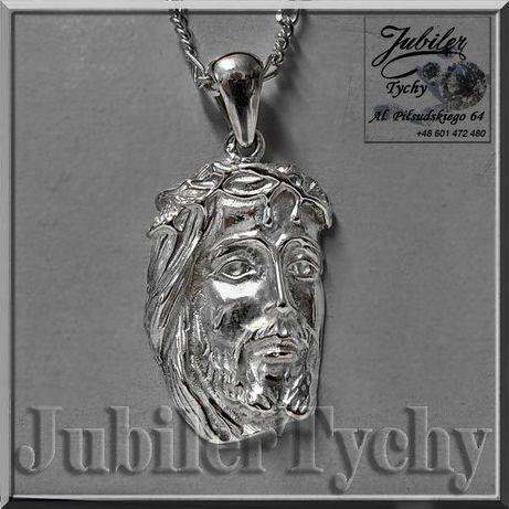 Duża Głowa Jezusa w Koronie Cierniowej Srebro 925 Wisior Jezus Tychy - image 1