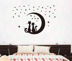 Naklejki na ścianę Księżyc Kotki WS-0248
