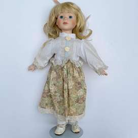 90's Blonde Hair Blue Eyed Doll, in Classical Dress with Stand