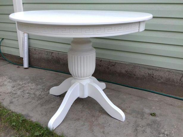 Стол деревяный белый раскладной /Стіл білий розкладний
