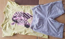 Paka bluzki spódniczki spodenki zadbane kolorowe rozm 134_140