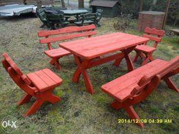 Meble ogrodowe stół 4 ławki na 8 osób z drewna XL dostawa 3m