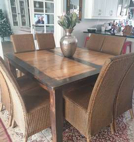 8 seater square mango wood diningroom table and 8 chairs