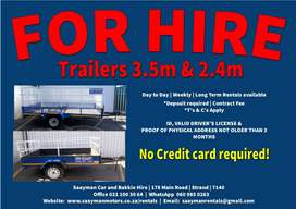 Open Trailers for Hire - 2.4m & 3.5m