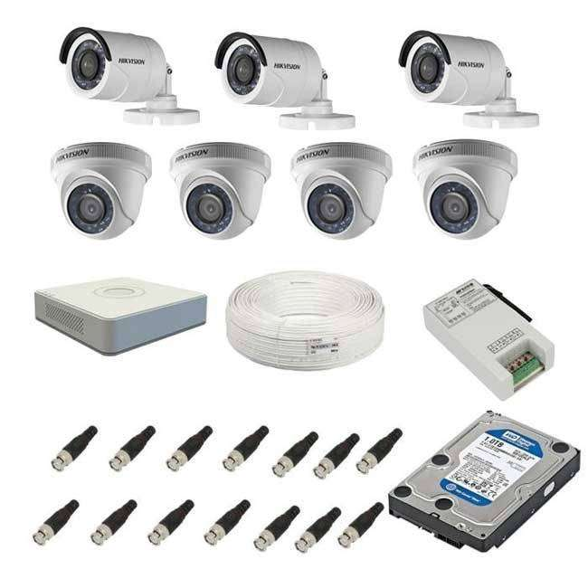 7 Hikvision 2MP HD CCTV Camera Kit System With With 8 Channel DVR 0