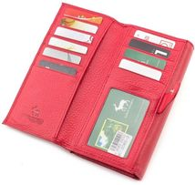 Красного цвета кожаный женский кошелек под карточки MARCO COVERNA