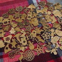 Деревянные новогодние игрушки новорічні іграшки на ялинку елку дерево