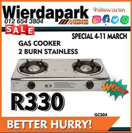 Gas Cooker 2 Burn Stainless available for ONLY R330