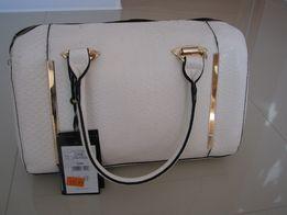 Nowa torba torebka torebki biała biały kolor MOHITO złote paski