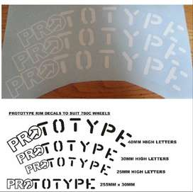 Prototype 700C bicycle wheel rim decals stickers vinyl cut graphics