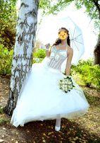 Красивое Свадебное платье с камнями Swarovski