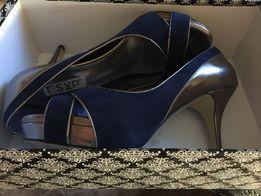Шикарные нарядные туфли синий замш и бронза RSVP