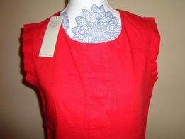 NEXT czerwona NOWA lniana 55% len 45 cotton bawełna bluzka koszulka 36