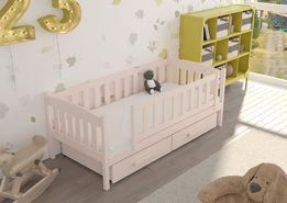 łóżko drewniane w kolorze pudrowego różu! Pokój dla dziewczynki! 7 dni