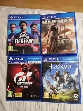 Fifa 19, horizon zero dawn, mad max and grand turismo ps4