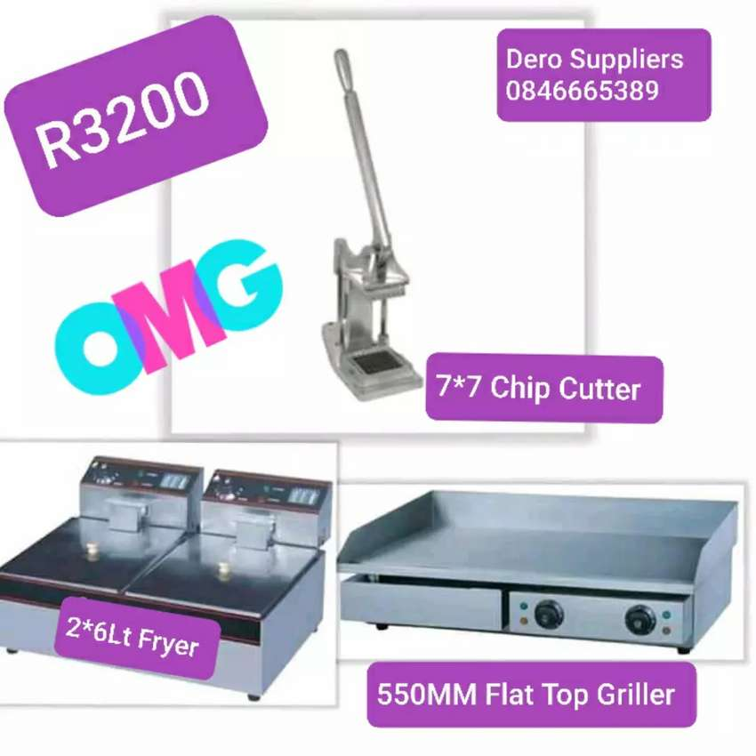 Electric Griller, Fryer, Chip Cutter Combo Package Deal