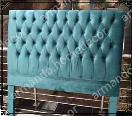 Teal velvet headboard with buttons for queen bed
