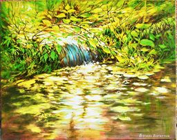 Картина маслом интерьерная пейзаж*Водопад*подарок на свадьбу девушке