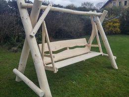 Huśtawka ogrodowa, drewniana z bali