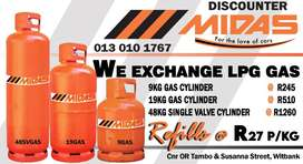 We Exchange and Refill LPG Gas at Discounter Midas!