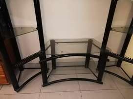 3 piece glass/aluminum TV stand