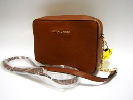 Michael Kors Gustowna brązowa listonoszka torebka na łańcuszku