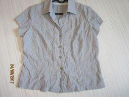 bluzka elegancja 38 szara srebrna krótki rękaw z kołnierzykiem
