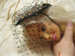 на куклу шляпа шляпка вуаль леопардовая таблетка ручная работа одежка