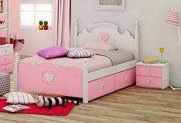 Kolekcja mebli dla dziewczynki MARY Neo Pink 120 - 4 PIĘKNE ŁÓŻKO 120