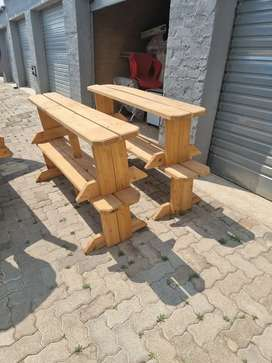 Wooden tables and bunk chairs - raw