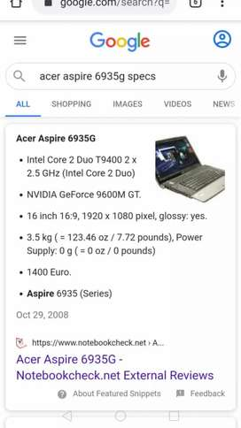 Acer aspire 6935 laptop R1500