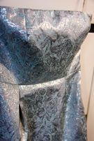 Sukienka niebieska 38 koktajlowa wizytowa bez szelek mini błękitna