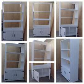 Wall display unit Cottage series 4 Tier with cupboard 0470 White