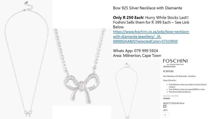 Bow 925 Silver Necklace with Diamante. Only R 250 each. 0