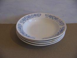 4 суповые тарелки с синим узором