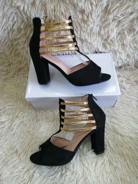 Black and Gold Heels#G2S