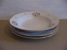 3 тарелки с коричневым узором, большие