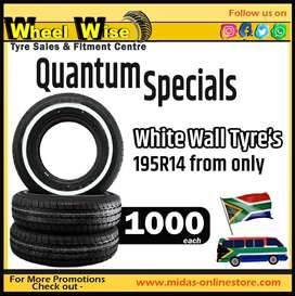 Quantum Specials White Wall Tyre's 195R14 from ONLY R1000 each