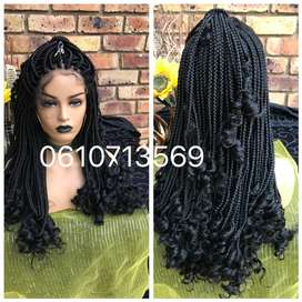 Curly braided lace front braided wig
