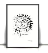 biało czarny plakat słońce, czarno biały plakat księżyc, fajny plakat