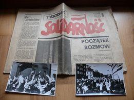 Zdjęcia ze strajku SOLIDARNOŚCI wraz z gazetą, medalem, kopertą 1981r