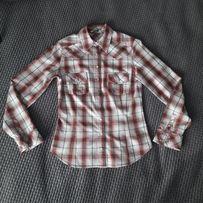 Koszula damska taliowana New Look S 10 krata mapy podpinane rękawy