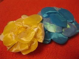 детские банты фатин заколка желтая голубая цветок на резинке цена за 2