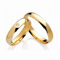 Eleganckie Klasyczne Przyozdobione Cyrkonią Złote Obrączki Ślubne