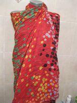 платок палантин огромный летний ярко красный горох 1.87х1.04 вискоза