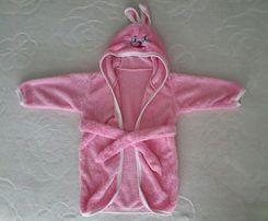 детское банное полотенце халат уголок махра микрофибра розовое зайка