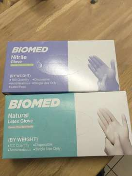 Biomed nitrile and latex gloves powder free