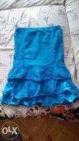 летнее голубое/бирюзовое платье без бретелей